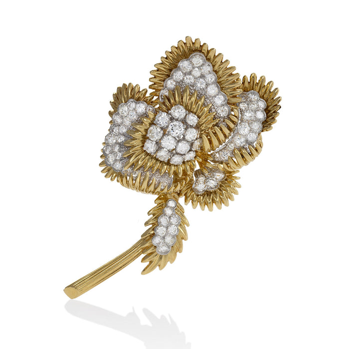Macklowe Gallery Tiffany & Co. Gold and Diamond Flower Brooch