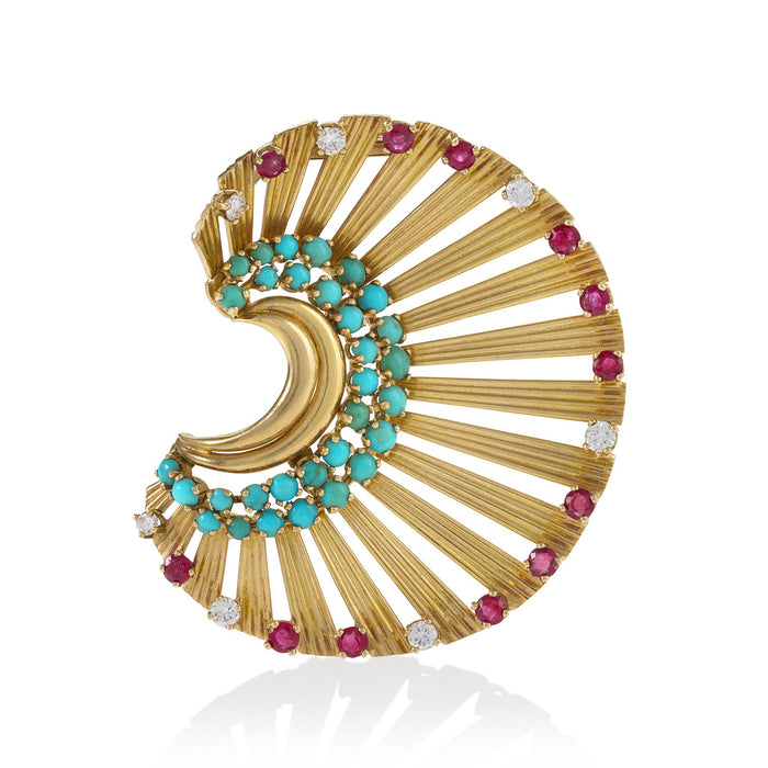 Macklowe Gallery Janca Turquoise and Ruby Gold Fan Brooch