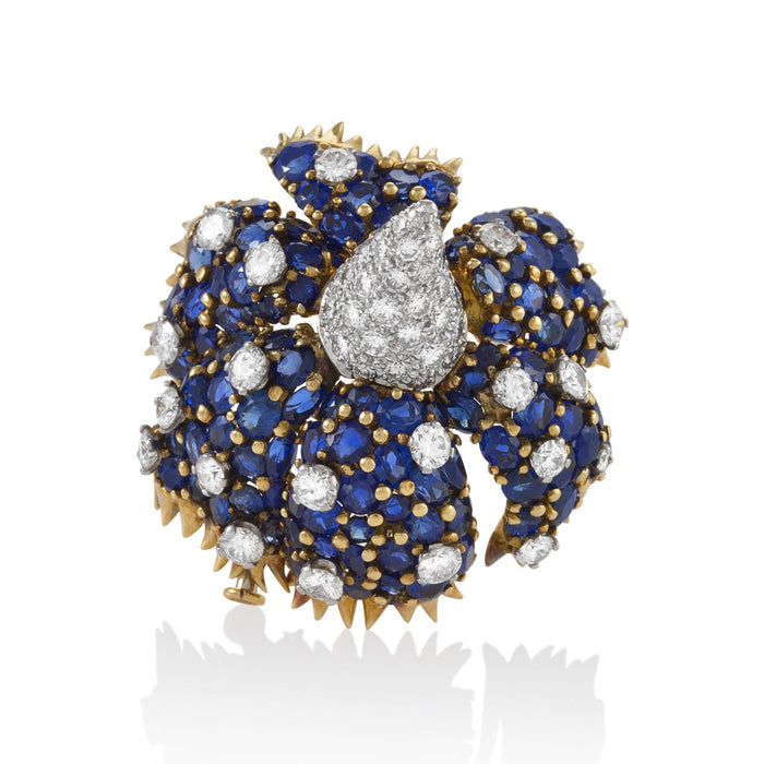 "Macklowe Gallery Tiffany & Co. ""Sombrero"" Flower Sapphire and Diamond Brooch"