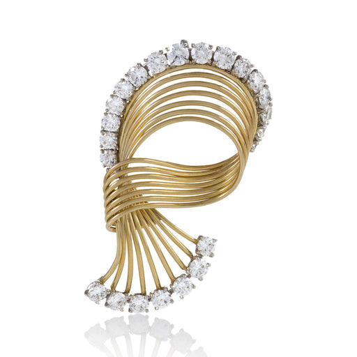 Macklowe Gallery Cartier Gold and Diamond Swirl Brooch