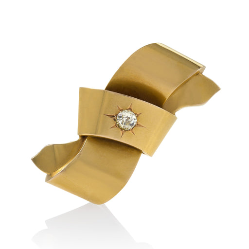 Macklowe Gallery Gold and Diamond Bow Brooch