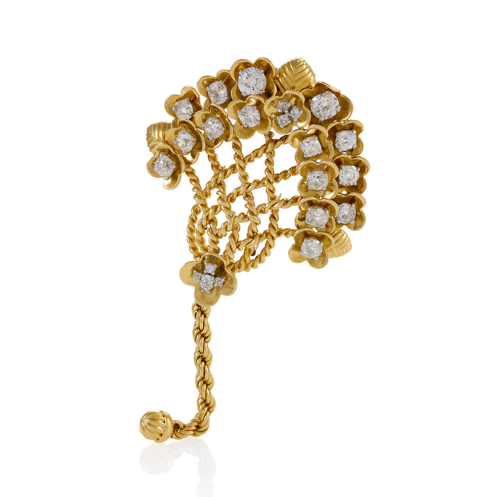 Cartier Gold and Diamond Bouquet Brooch