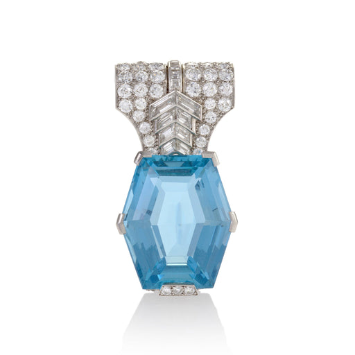 Macklowe Gallery Cartier Aquamarine and Diamond Brooch