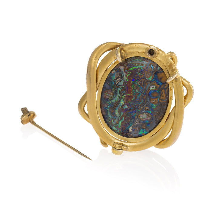 Macklowe Gallery Double Serpent and Wood Opal Brooch