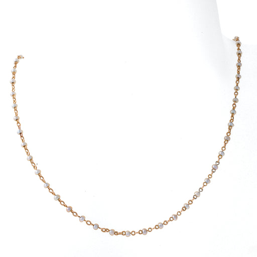 Macklowe Gallery Seed Pearl and Gold Trace Link Chain Necklace