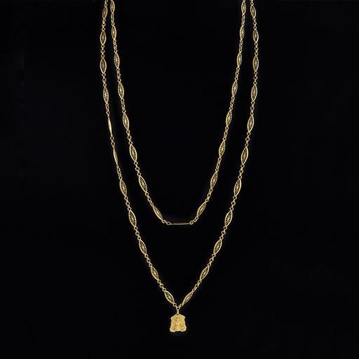 Macklowe Gallery Gold Joan of Arc Long Chain Medallion Necklace