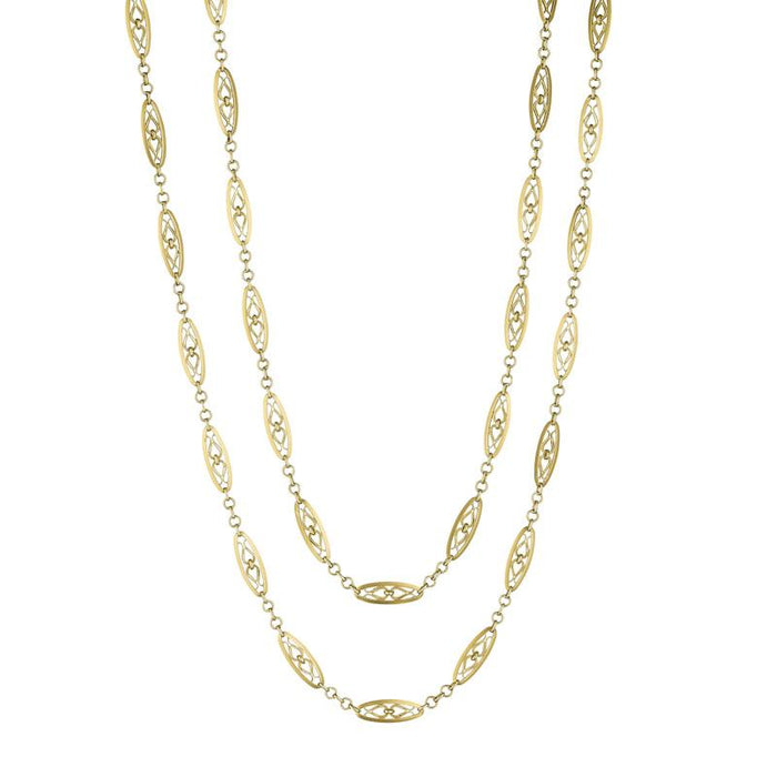 Macklowe Gallery Gold Navette Link Long Chain Necklace