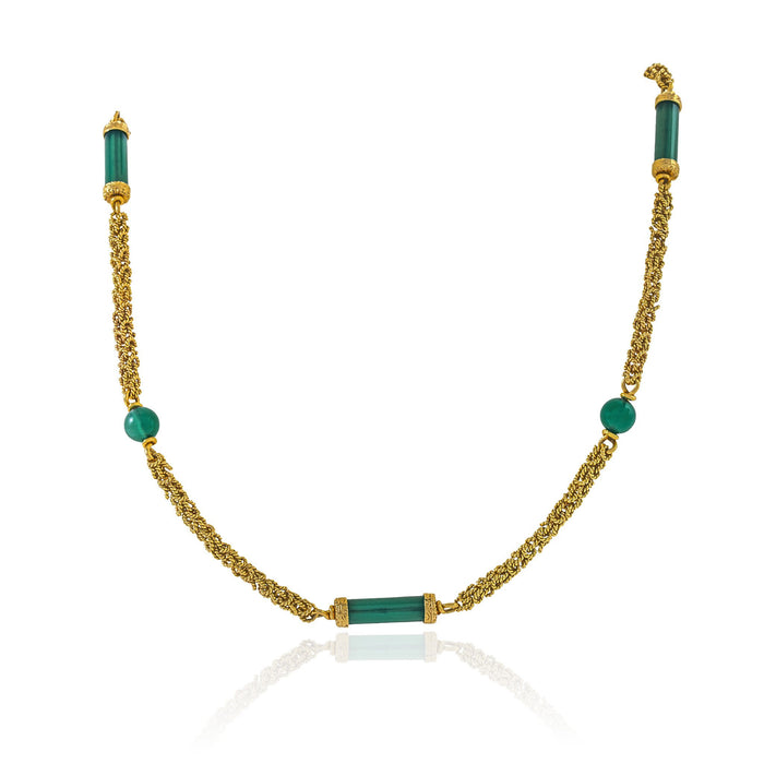 Macklowe Gallery Chrysoprase and Gold Long Chain Necklace