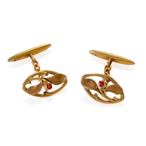 Macklowe Gallery Ruby and Gold Leaf Cuff Links