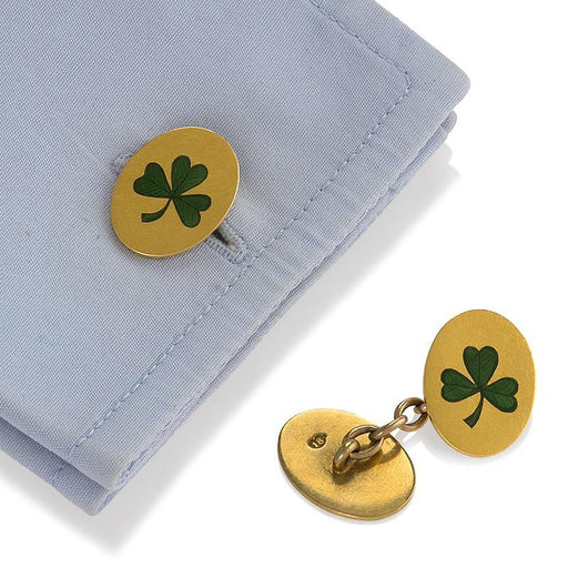 "Macklowe Gallery ""Shamrock"" Enamel and Gold Cuff Links"