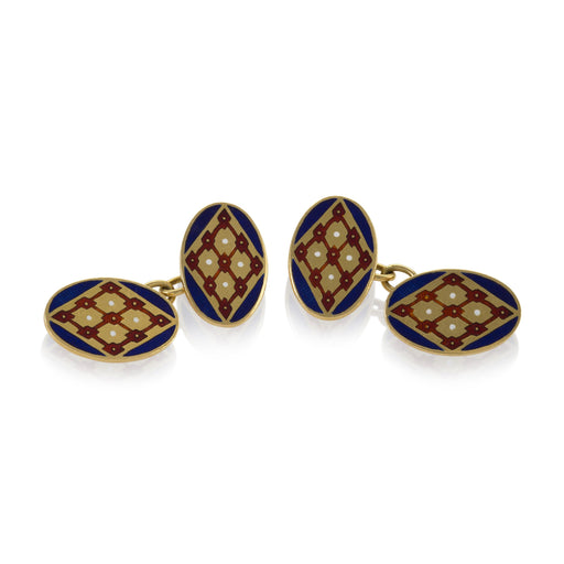 Macklowe Gallery Gold and Enamel Oval Cuff Links