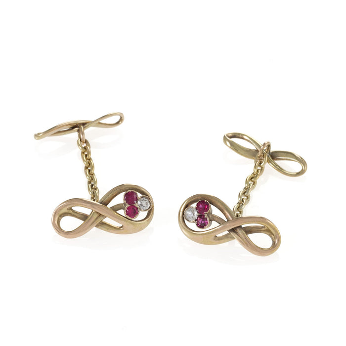 Macklowe Gallery Ruby and Diamond Gold Infinity Cuff Links