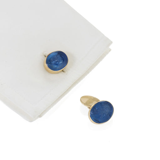 Macklowe Gallery Blue Glass Intaglio Cuff Links