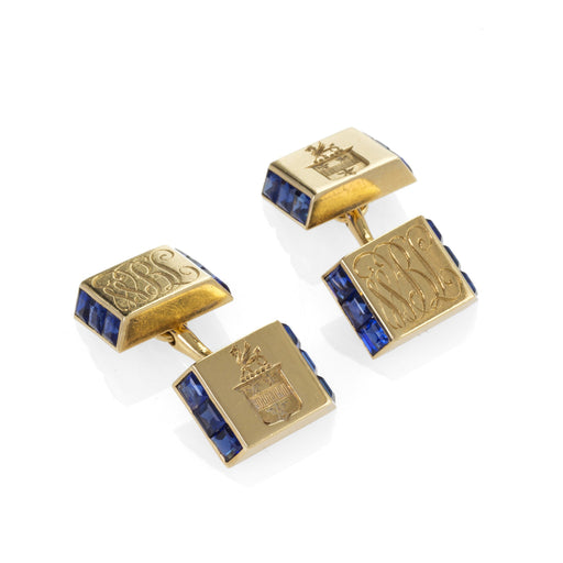 Macklowe Gallery Cartier Sapphire and Gold Bar Cuff Links