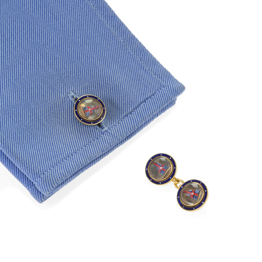Macklowe Gallery Benzie of Cowes New York Yacht Club Rock Crystal and Enamel Cuff Links