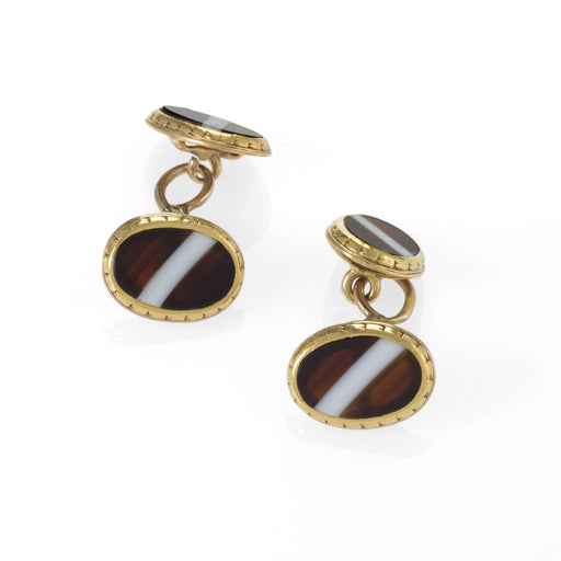 Macklowe Gallery Banded Agate and Gold Cuff Links