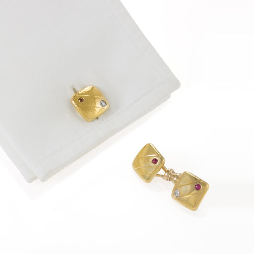 Macklowe Gallery Ruby and Diamond Gold Square Cuff Links