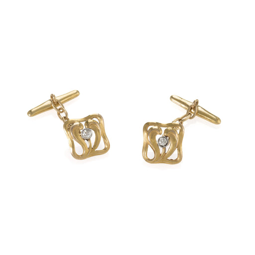 Macklowe Gallery Chased Gold and Diamond Cuff Links