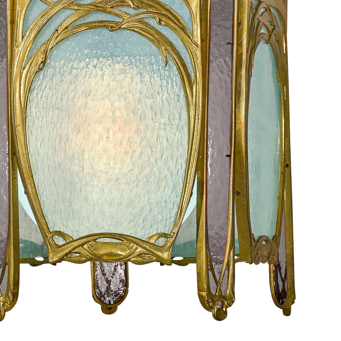 Hector Guimard (Attributed) Gilt Bronze and Glass Lantern Chandelier