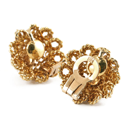 Macklowe Gallery Marianne Ostier Gold and Diamond Flower Earrings