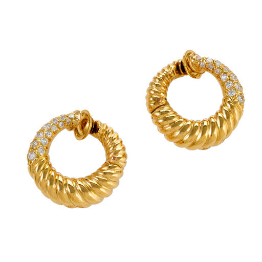 Macklowe Gallery Van Cleef & Arpels Gold and Diamond Hoop Earrings