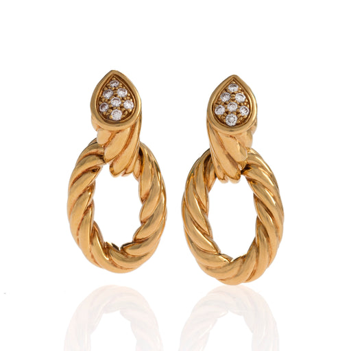 Macklowe Gallery Boucheron Paris Gold Ropetwist and Diamond Hoop Earrings