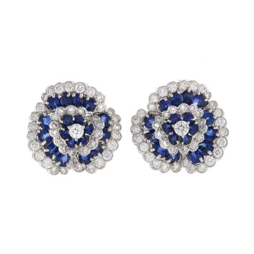 "Macklowe Gallery Van Cleef & Arpels Sapphire and Diamond ""Camellia"" Earrings"