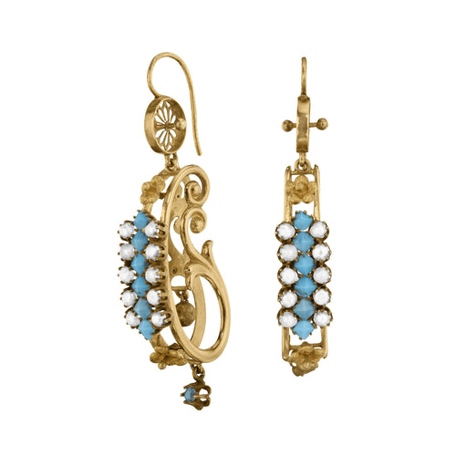 Macklowe Gallery Turquoise and Seed Pearl Gold Half Hoop Earrings