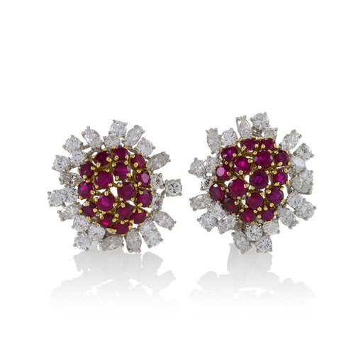 Macklowe Gallery Boucheron Paris Ruby and Diamond Flower Earrings
