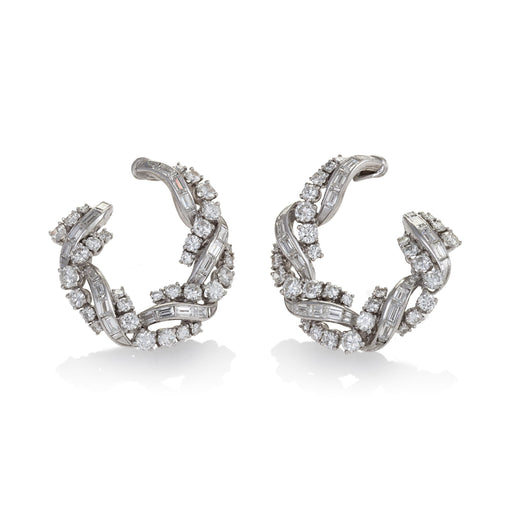 Macklowe Gallery Front-Facing Diamond Hoop Earrings