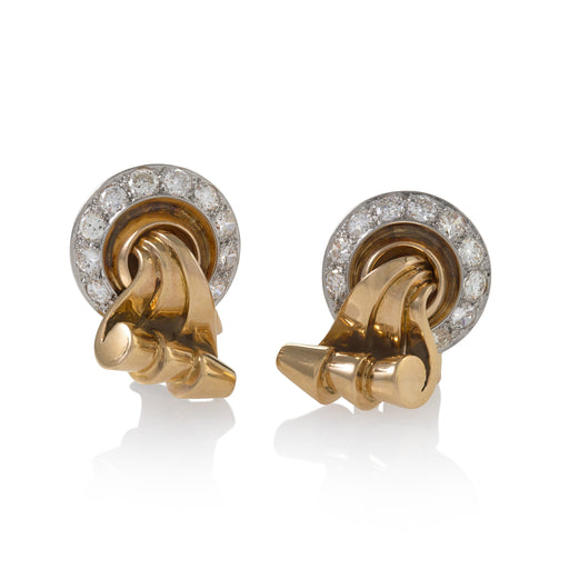Macklowe Gallery Gold and Diamond Scroll Earrings