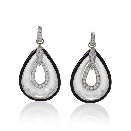"Macklowe Gallery David Webb ""Midnight"" Rock Crystal Drop Earrings"
