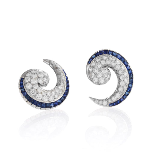 Macklowe Gallery Sapphire and Diamond Spiral Earrings