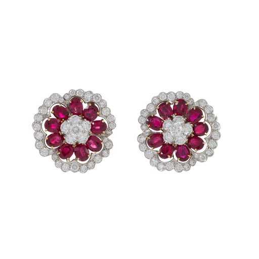 "Macklowe Gallery Van Cleef & Arpels Ruby and Diamond ""Camellia"" Earrings"