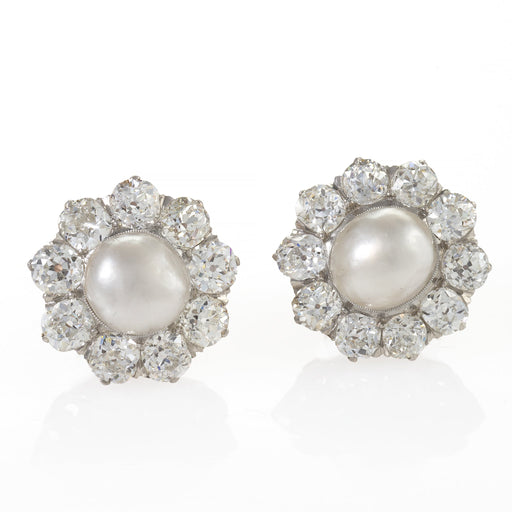 Macklowe Gallery Natural Saltwater Pearl and Diamond Cluster Earrings