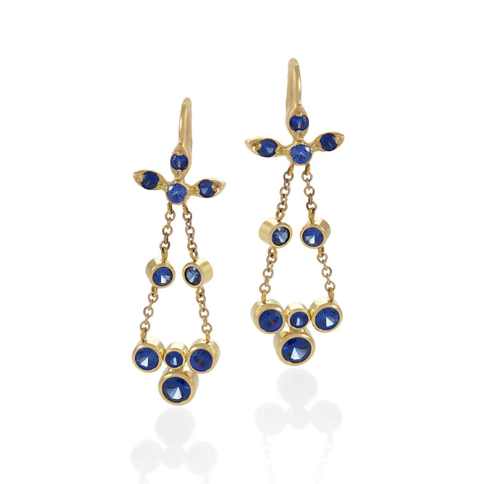 Macklowe Gallery Gold and Sapphire Flexible Drop Earrings