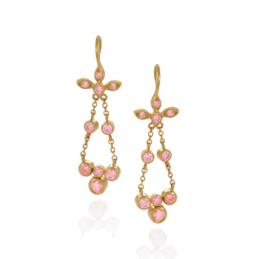 Macklowe Gallery Gold and Pink Sapphire Flexible Drop Earrings