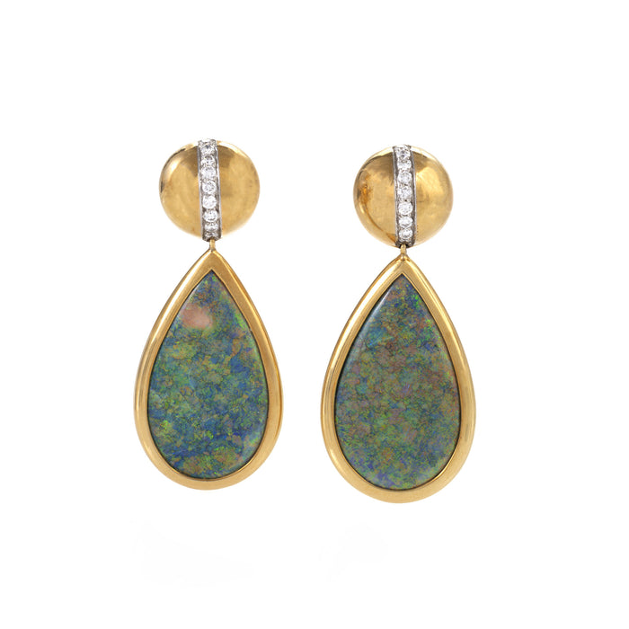 Paloma Picasso for Tiffany & Co. Black Opal and Diamond Pendant Earrings