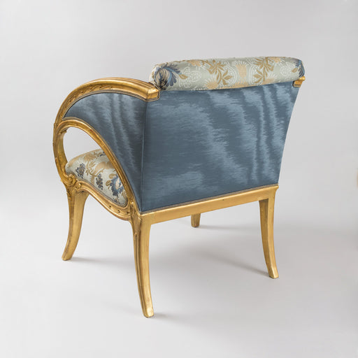 Macklowe Gallery Joan Busquets Pair of Blue Floral Giltwood Armchairs