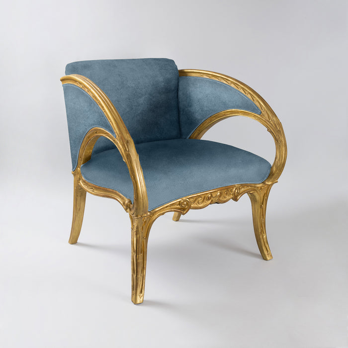 Joan Busquets Pair of Blue Floral Giltwood Armchairs