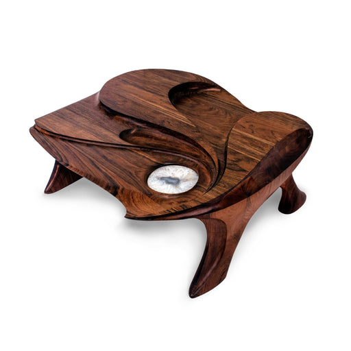 "Macklowe Gallery Michael Coffey ""Lunar Sea II"" Carved Wood and Agate Coffee Table"