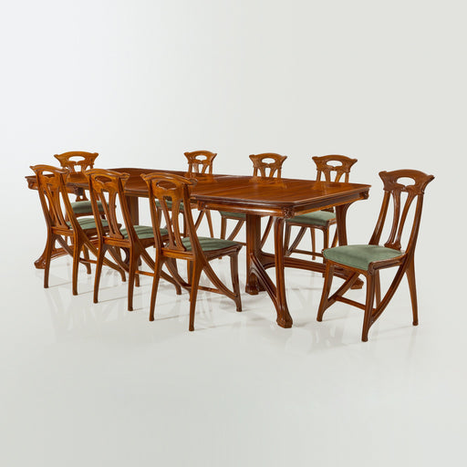 Macklowe Gallery Eugène Gaillard Walnut and Mahogany Dining Suite