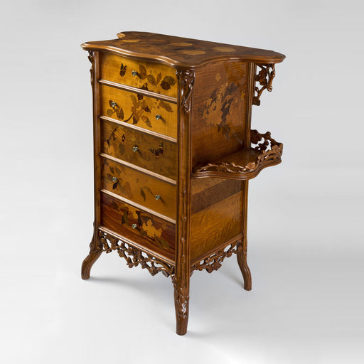 Macklowe Gallery Émile Gallé French Walnut and Fruitwood Marquetry Chest of Drawers