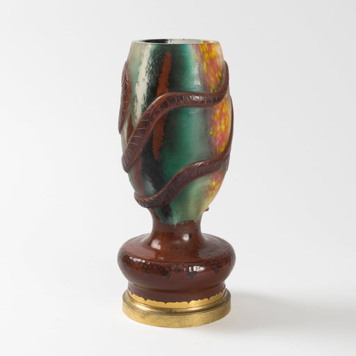 Macklowe Gallery Ernest Leveillé Wheel-Carved Serpents Cameo Glass Vase
