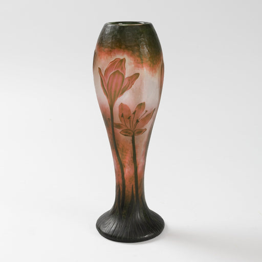 Macklowe Gallery Daum Nancy Wheel-Carved Floral Cameo Glass Vase