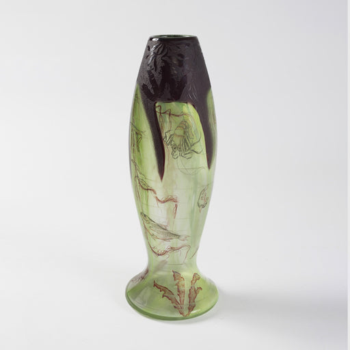"Macklowe Gallery Daum Nancy ""Algues et Poissons"" Enamel and Cameo Glass Vase"