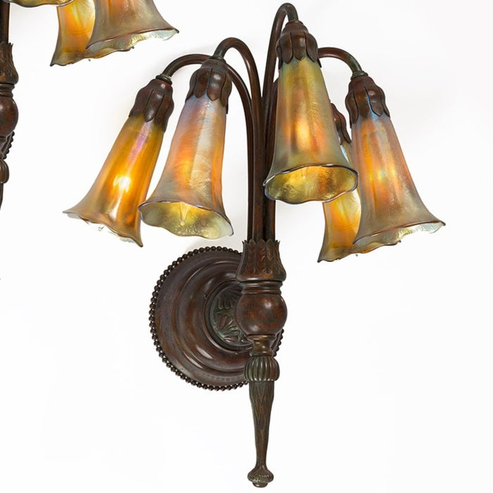 "Tiffany Studios New York Pair of ""Five Light Lily"" Favrile Wall Sconces"