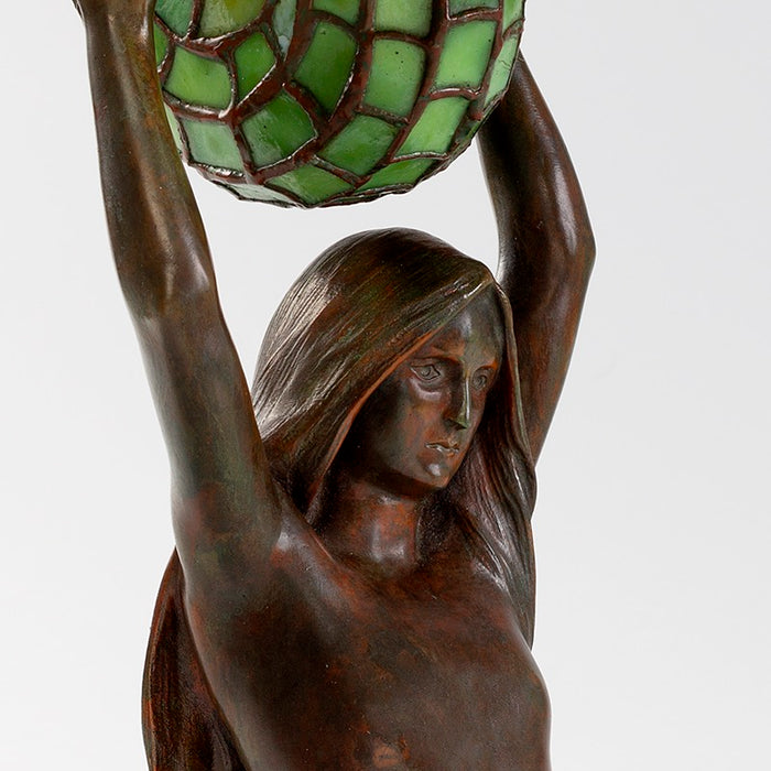 "Tiffany Studios New York ""Nautilus"" Table Lamp With ""Mermaid"" Base"
