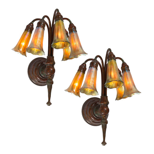 "Macklowe Gallery Tiffany Studios New York Pair of ""Five Light Lily"" Favrile Wall Sconces"