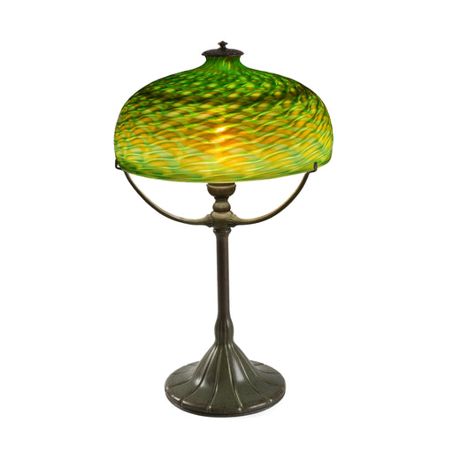 "Macklowe Gallery Tiffany Studios New York ""Damascene"" Glass Three-Arm Table Lamp"
